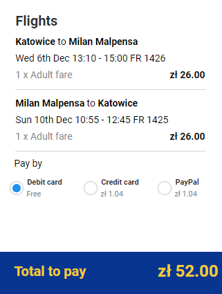 Spiatočné letenky z Katovíc do Milána od 12 eur