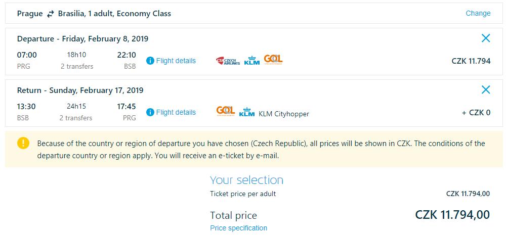 Spiatočné letenky z Prahy do Brasilie od 456 eur