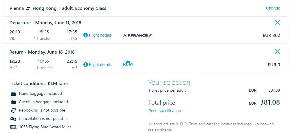 Spiatočné letenky z Viedne do Hong Kongu od 381 eur