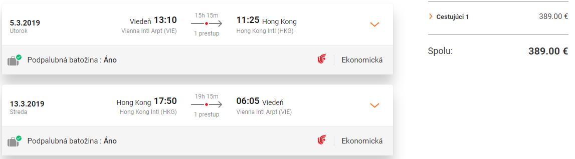 Spiatočné letenky z Viedne do Hong Kongu už od 389 eur