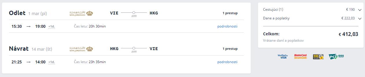 Spiatočné letenky z Viedne do Hong Kongu už od 412 eur