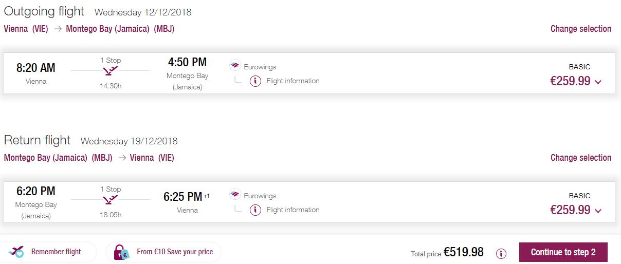 Spiatočné letenky z Viedne do Montego Bay už od 520€