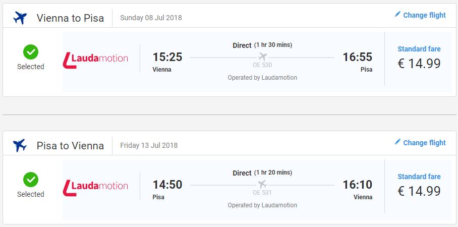 Spiatočné letenky z Viedne do Pise už od 30 eur