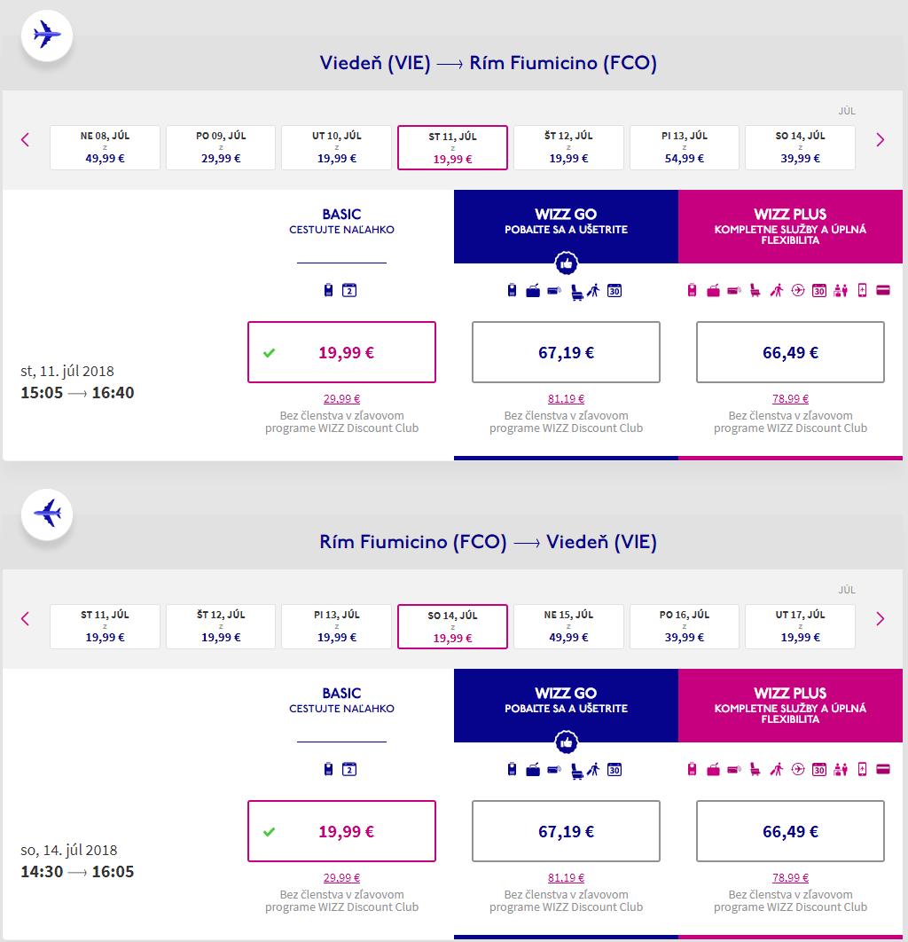 Spiatočné letenky z Viedne do Ríma od 40 eur