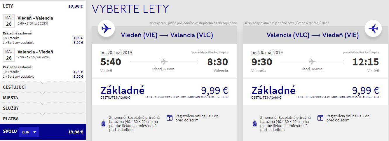 Spiatočné letenky z Viedne do Valencie už od 20 eur