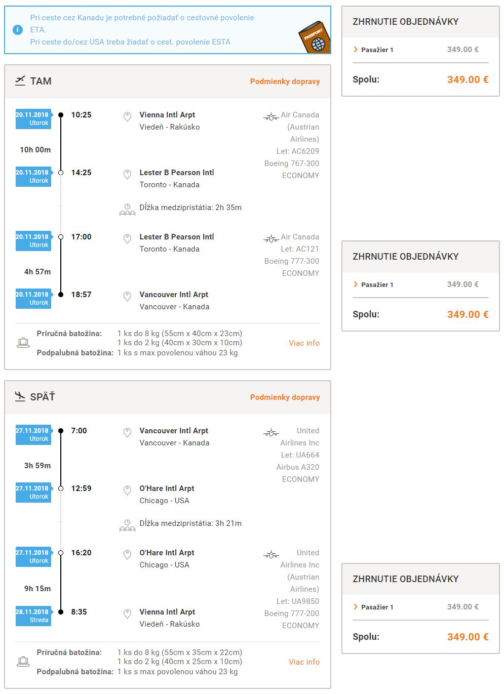 Spiatočné letenky z Viedne do Vancouveru od 349 eur