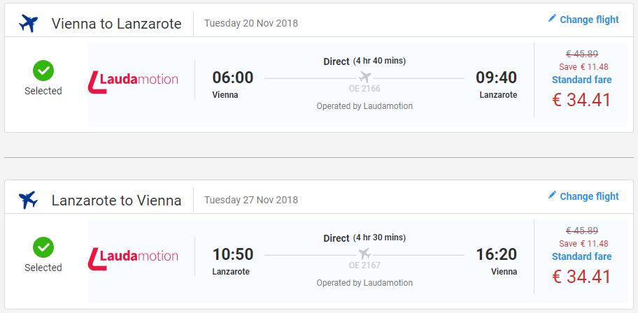 Spiatočné letenky z Viedne na Lanzarote už od 69 eur