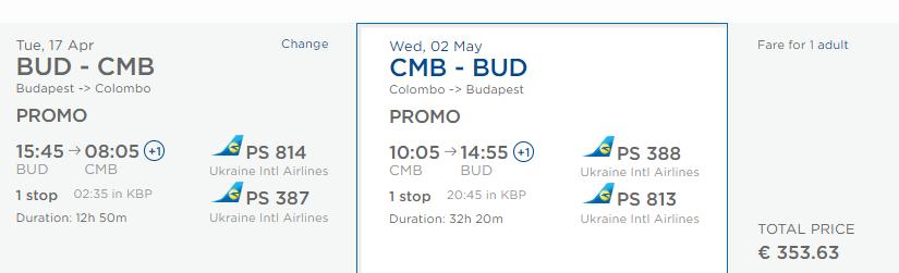 Srí Lanka z Budapešti s krátkym stopoverom v Kyjeve od 354 eur