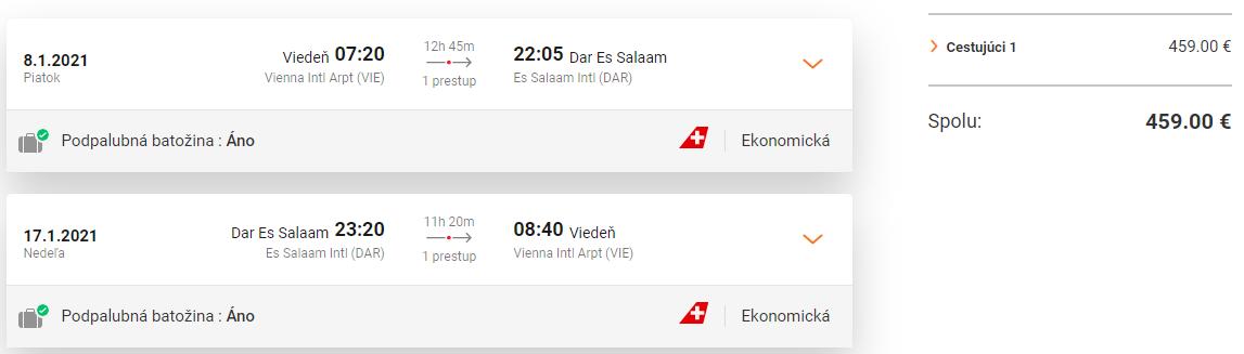 TANZÁNIA - Dar Es Salaam z Viedne s letenkami od 459 eur