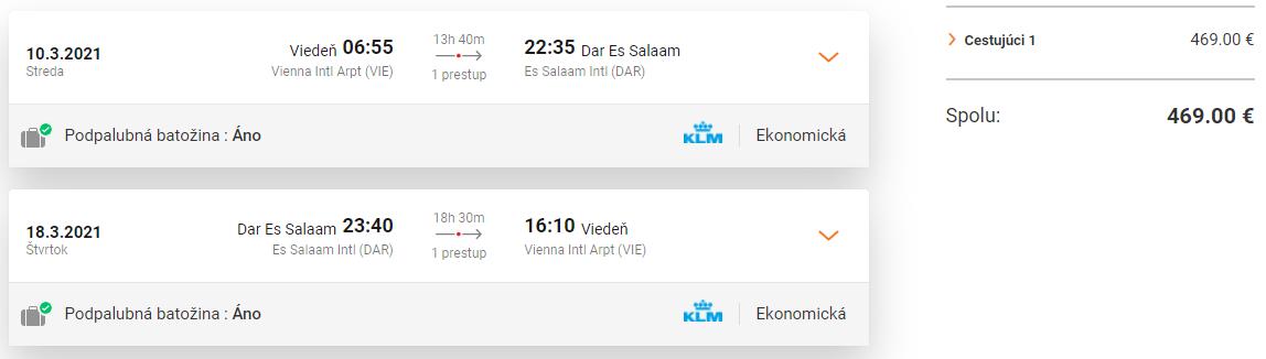 TANZÁNIA - Dar Es Salaam z Viedne s letenkami od 469 eur