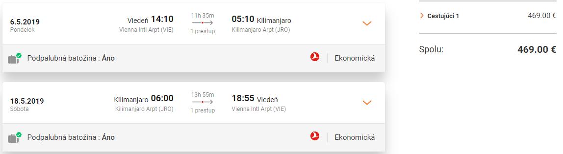 TANZÁNIA - Kilimanjaro z Viedne s Turkish Airlines od 469 eur