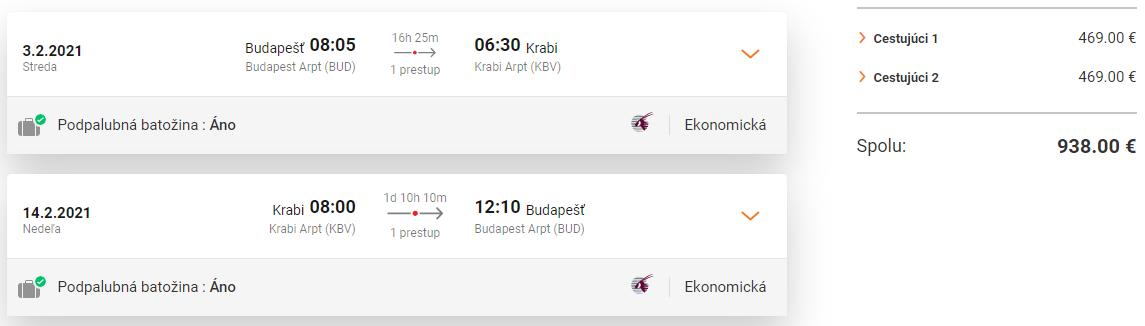 THAJSKO - Krabi z Budapešti s Qatar Airways. Letenky v hlavnej sezóne od 469 eur