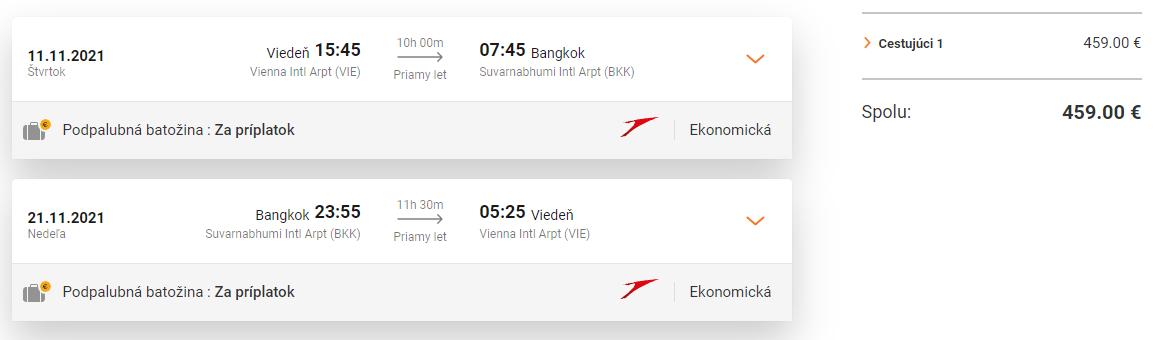 THAJSKO - Priame lety z Viedne do Bangkoku od 459 eur