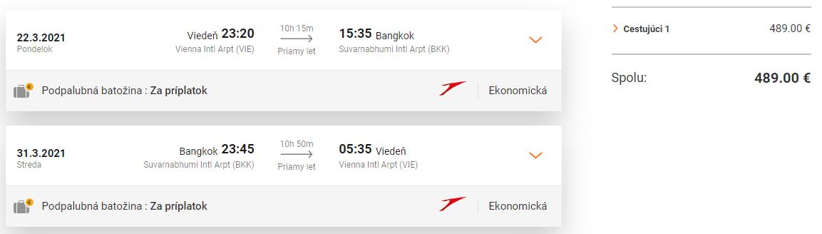 THAJSKO - Priame lety z Viedne do Bangkoku od 489 eur