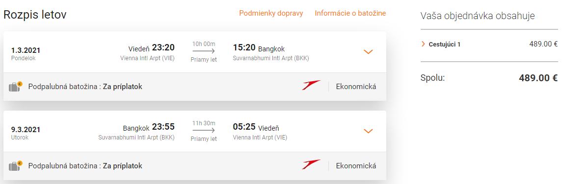 THAJSKO - Priame lety z Viedne do Bangkoku s Austrian Airlines od 489 eur