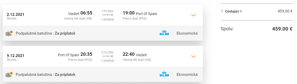 TRINIDAD A TOBAGO z Viedne s letenkami od 459 eur