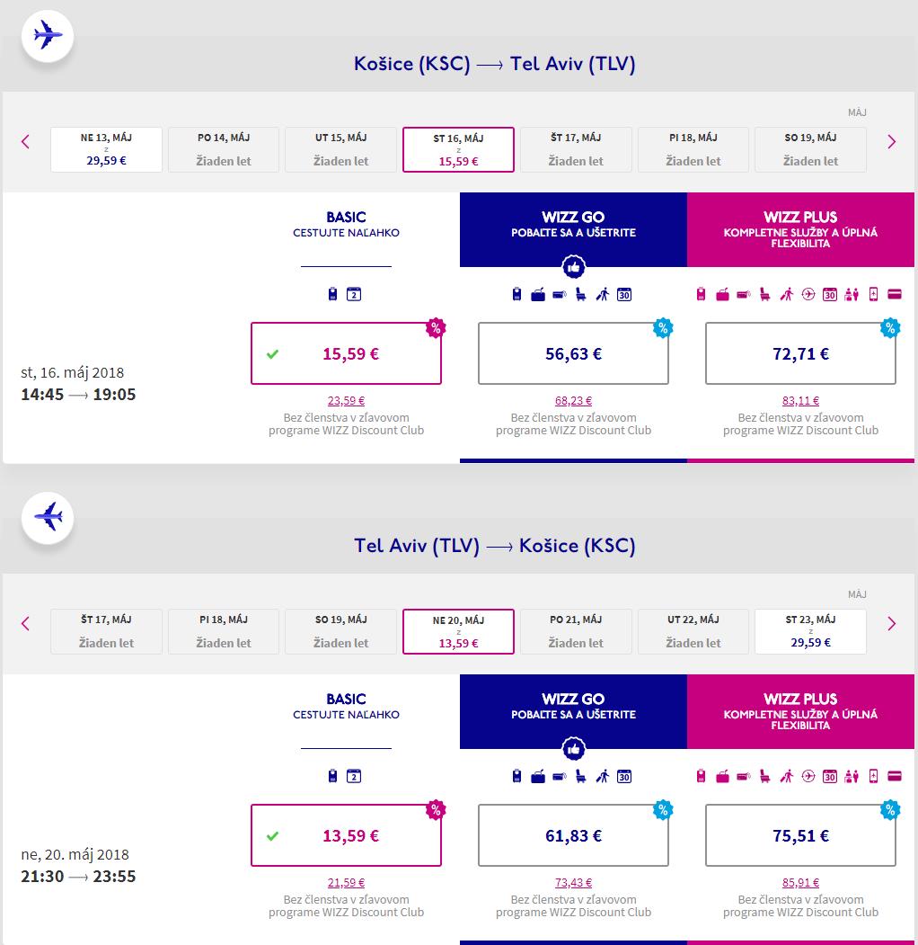 Tel Aviv z Košíc s poslednými májovými letenkami od 29 eur
