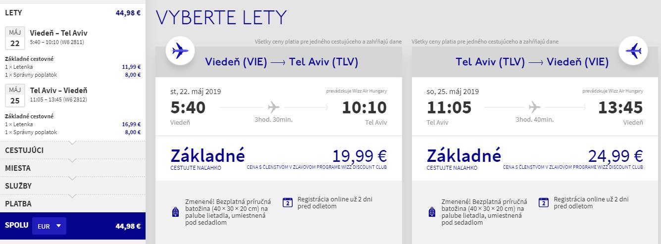 Tel Aviv z Viedne v májových termínoch s letenkami od 45 eur