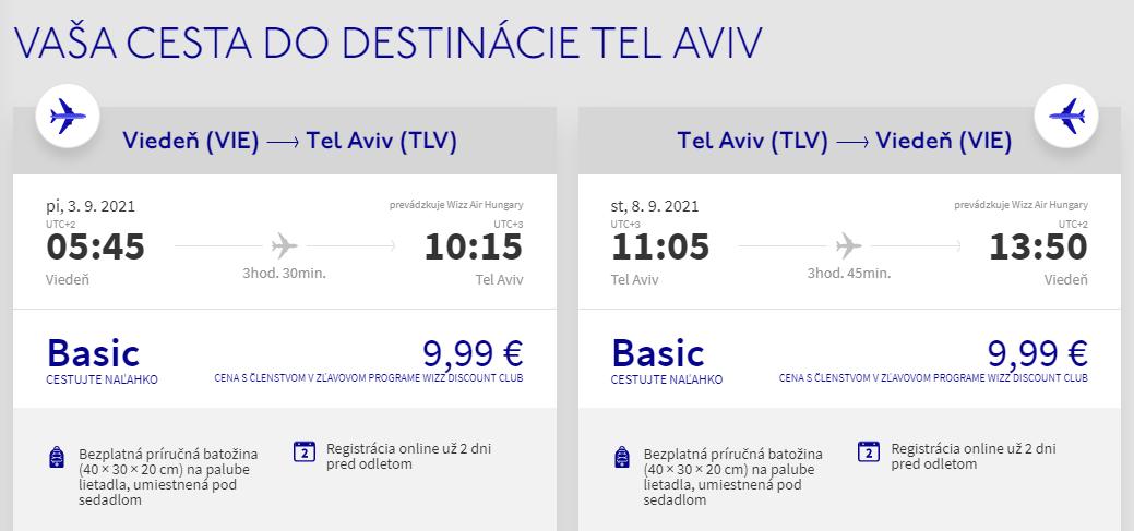 Tel Aviv z Viedne v septembrových termínoch s letenkami od 20 eur