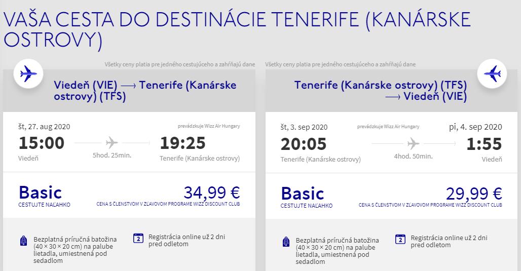 Tenerife z Viedne koncom leta s letenkami od 65 eur