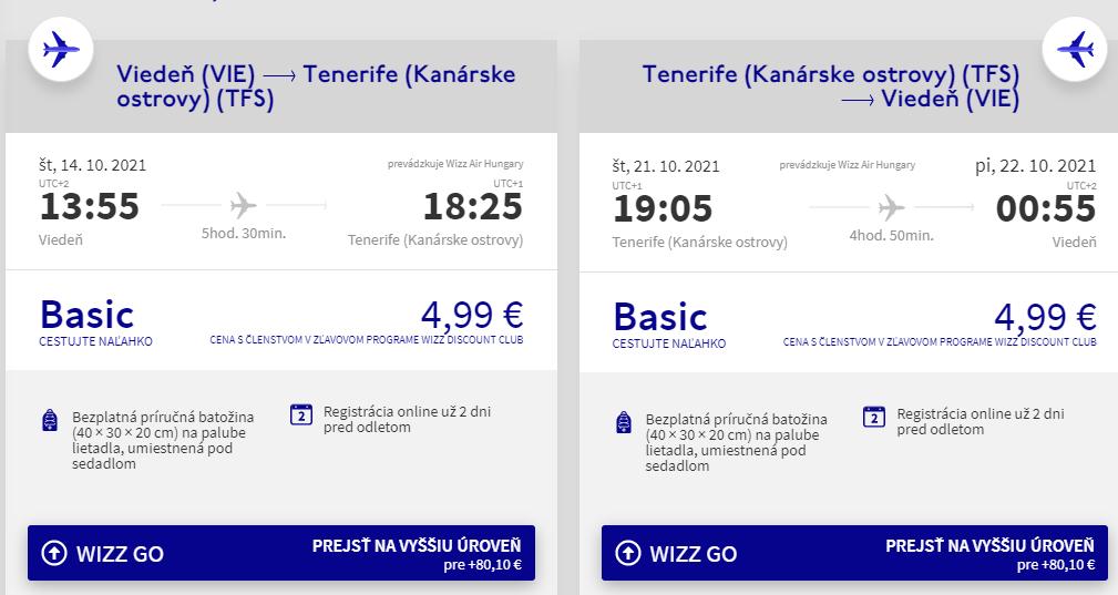 Tenerife z Viedne s letenkami od 10 eur