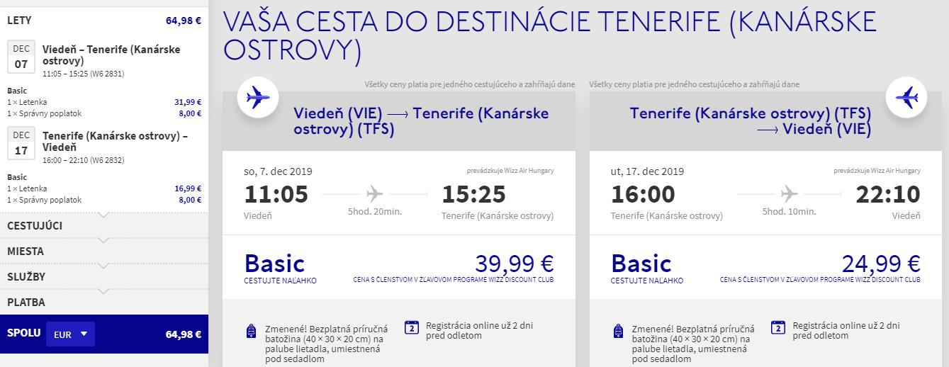 Tenerife z Viedne s letenkami už od 65 eur