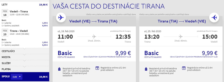 Tirana z Viedne s letenkami od 20 eur