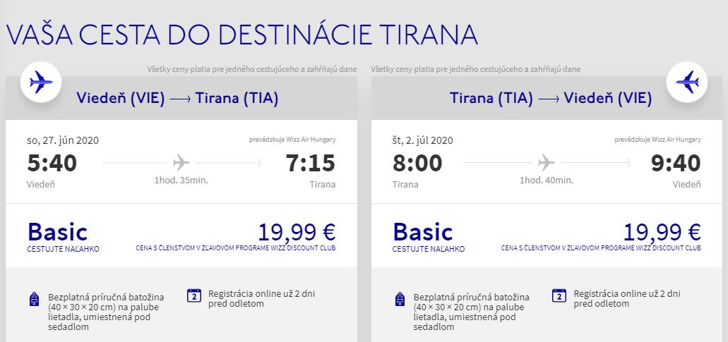 Tirana z Viedne začiatkom prázdnin s letenkami od 40 eur