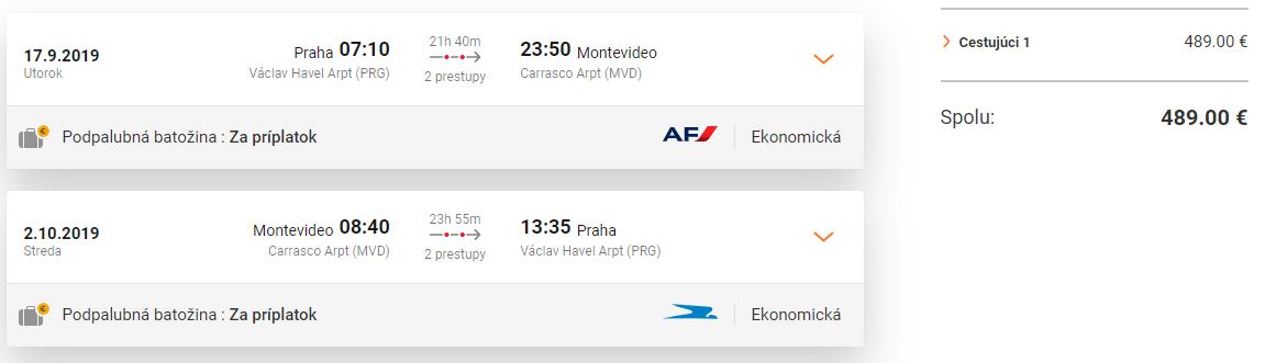 URUGUAJ - Montevideo s odletom z Prahy od 489 eur