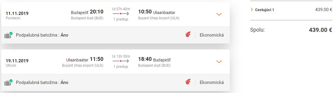 Ulanbátar z Budapešti s letenkami od 439 eur