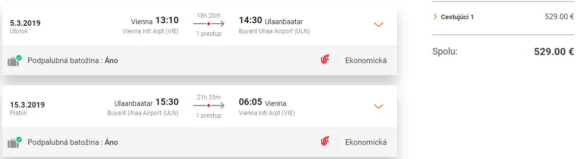 Ulanbátar z Viedne s letenkami od 529 eur