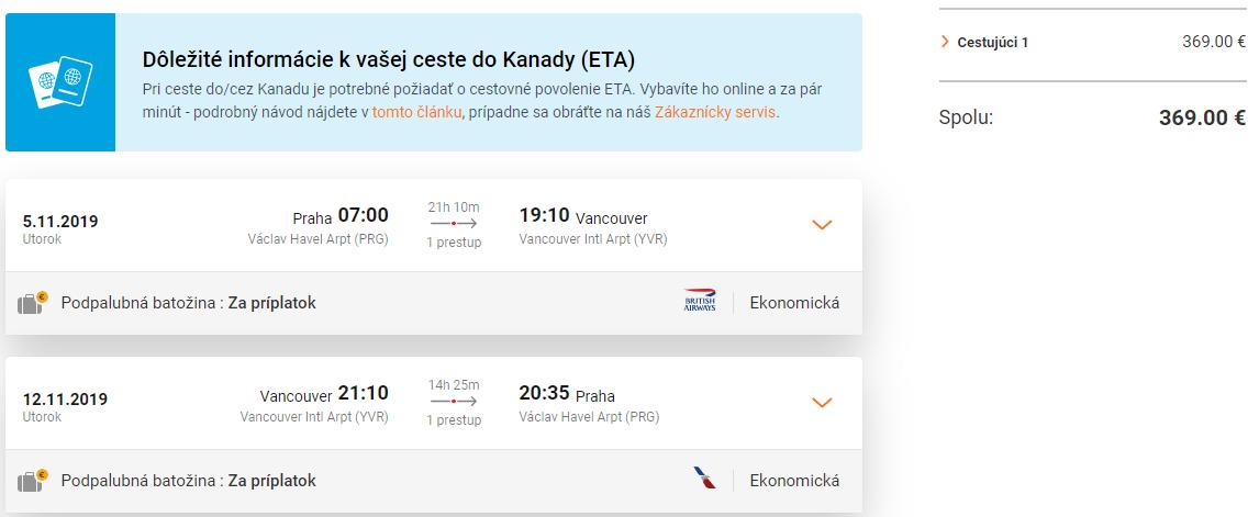 Vancouver z Prahy s letenkami od 369 eur
