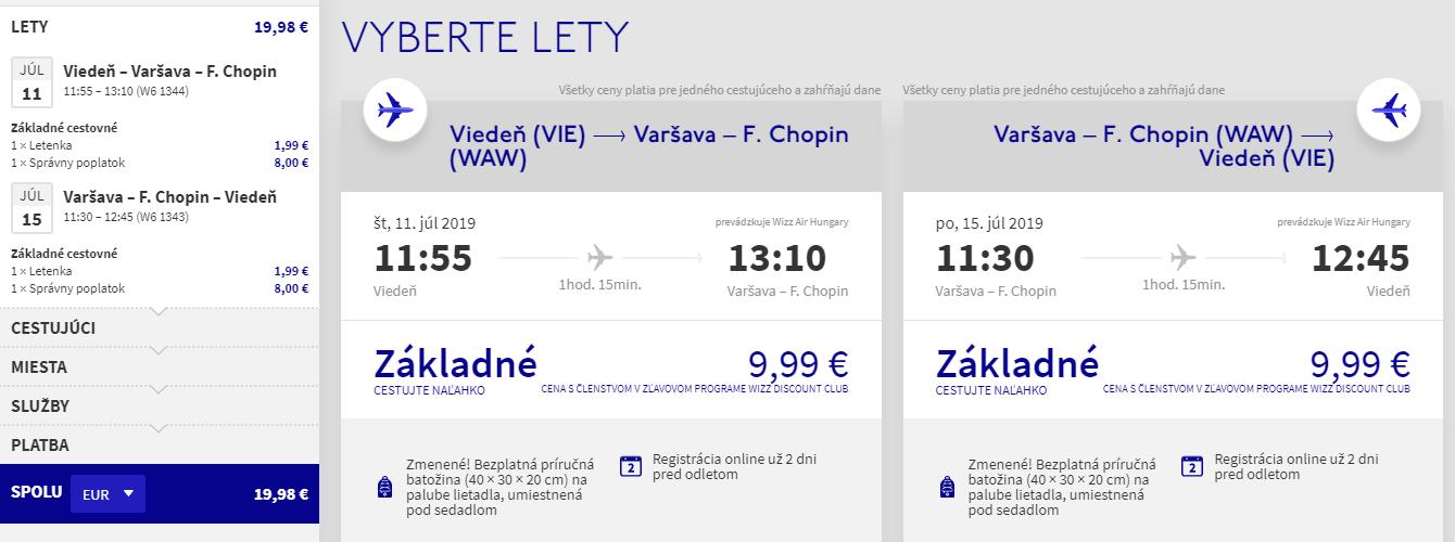 Varšava z Viedne aj cez letné prázdniny s letenkami od 20 eur