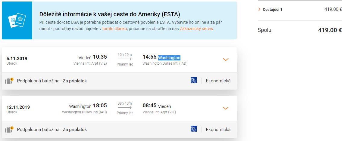 WASHINGTON - Priame lety z Viedne s letenkami od 419 eur