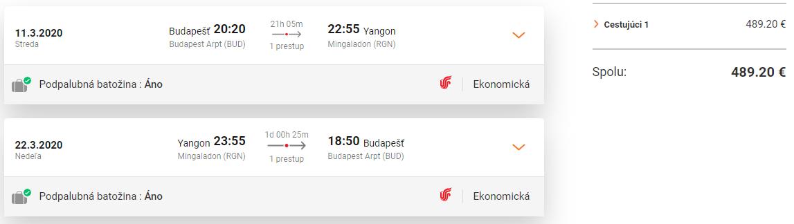 Yangon z Budapešti s letenkami od 489 eur