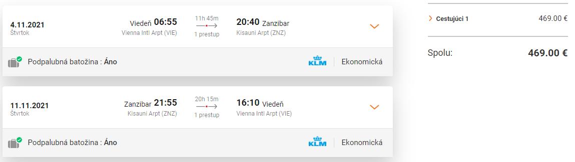 ZANZIBAR - Letenky z Viedne počas sezóny od 469 eur