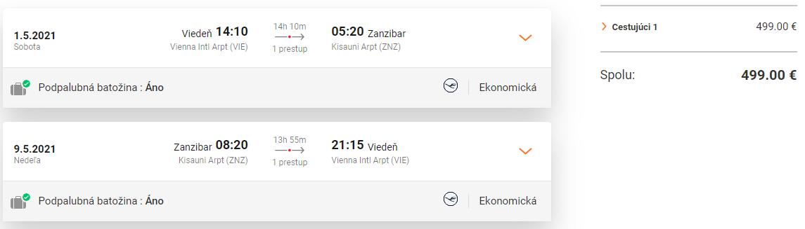 ZANZIBAR - Letenky z Viedne v jarných mesiacoch od 499 eur