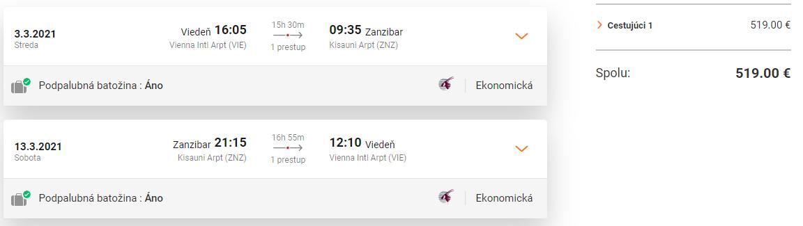 ZANZIBAR S QATAR AIRWAYS - Spiatočné letenky z Viedne od 519 eur