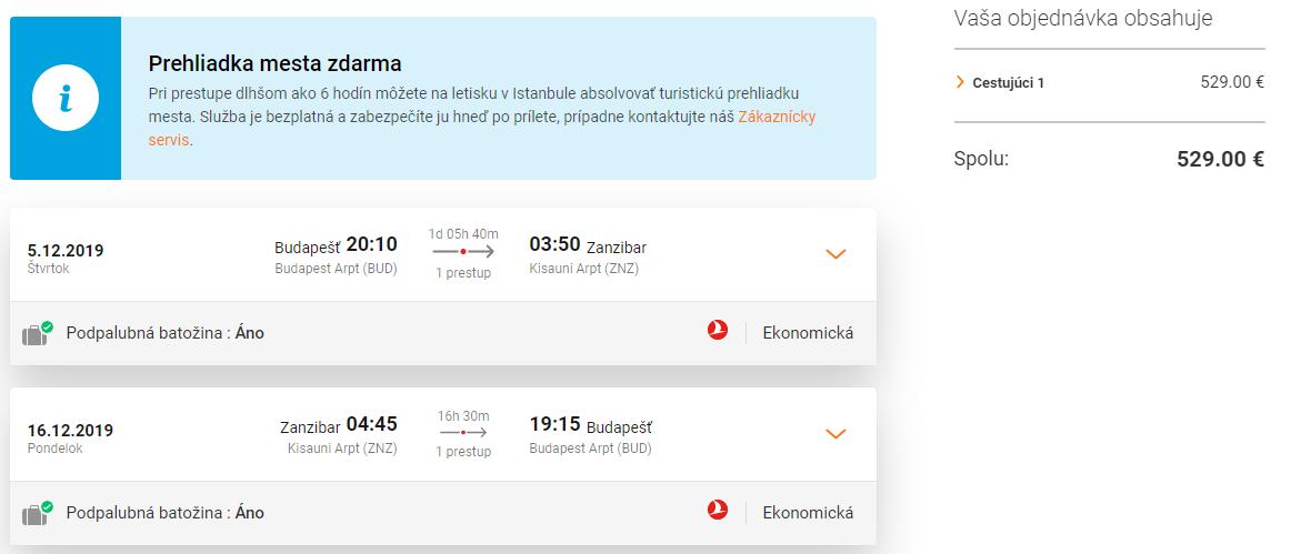 ZANZIBAR S TURKISH AIRLINES - Letenky z Budapešti od 529 eur