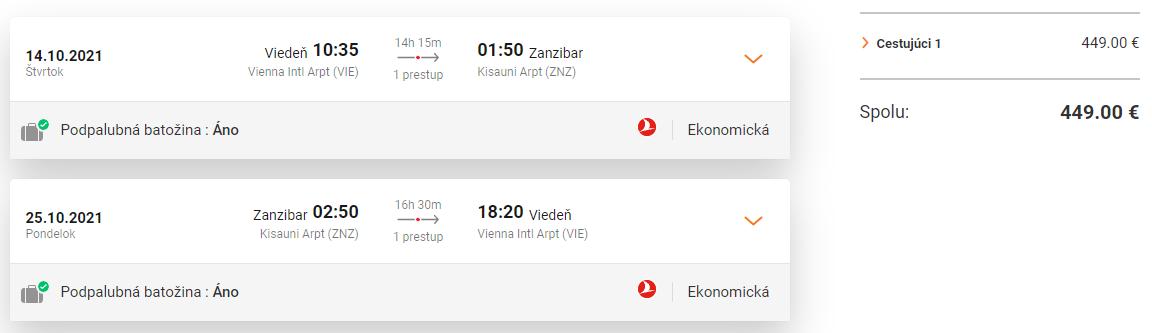 ZANZIBAR S TURKISH AIRLINES - Letenky z Viedne od 449 eur