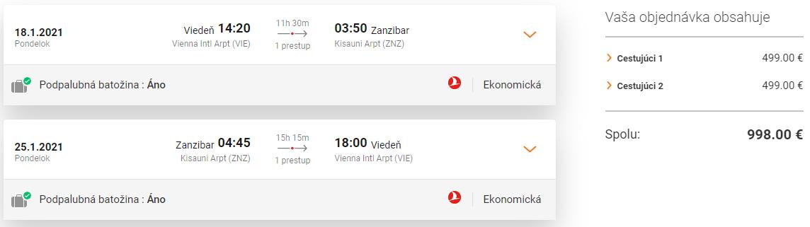 ZANZIBAR S TURKISH AIRLINES - Letenky z Viedne od 499 eur