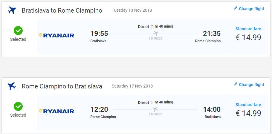 Z Bratislavy do Ríma v jesenných termínoch s letenkami od 30 eur