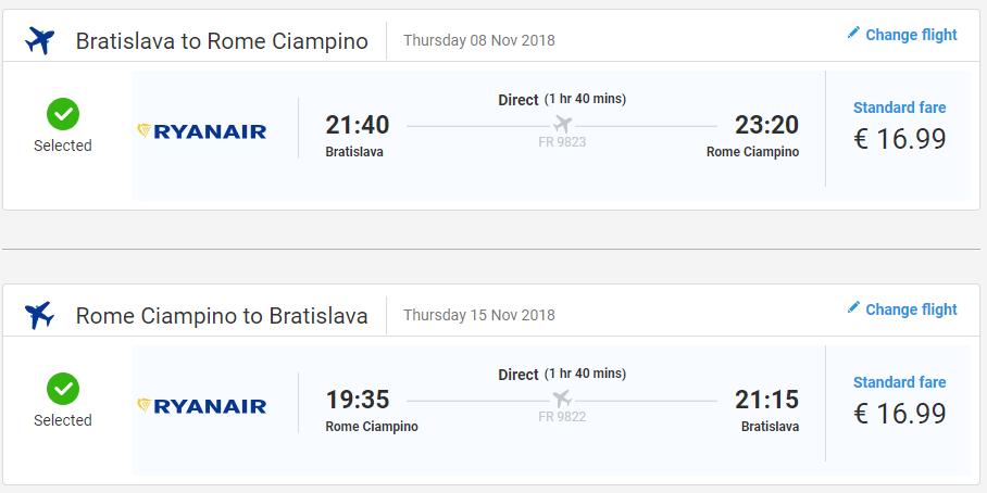 Z Bratislavy do Ríma v jesenných termínoch s letenkami od 34 eur
