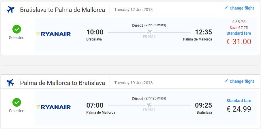 Z Bratislavy na Malorku v letných mesiacoch už od 56 eur
