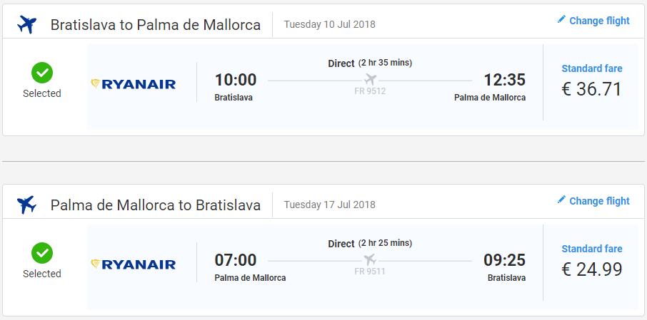 Z Bratislavy na Malorku v letných mesiacoch už od 62 eur