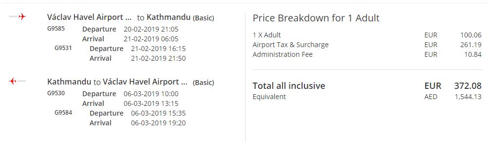 Z Prahy do Kathmandú s letenkami od 372 eur - Tarifa Basic