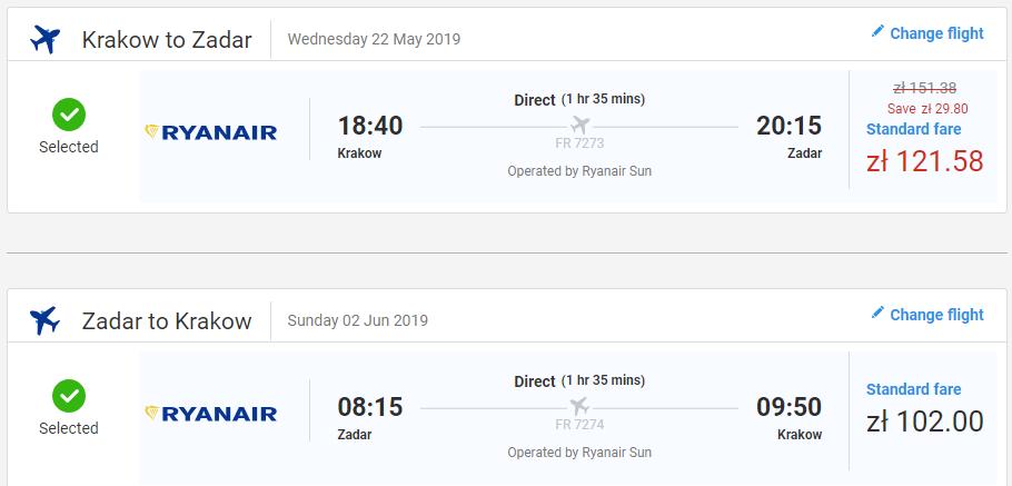 Zadar z Krakova s letenkami od 52 eur