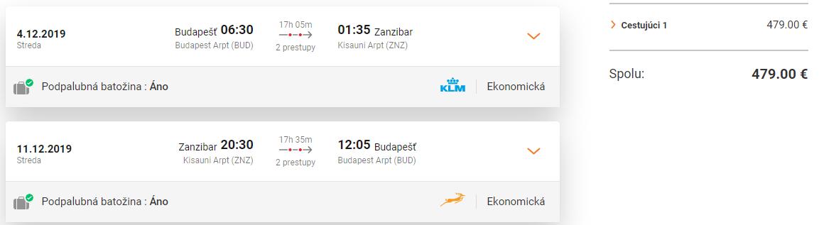 Zanzibar z Budapešti a Viedne s letenkami od 479 eur