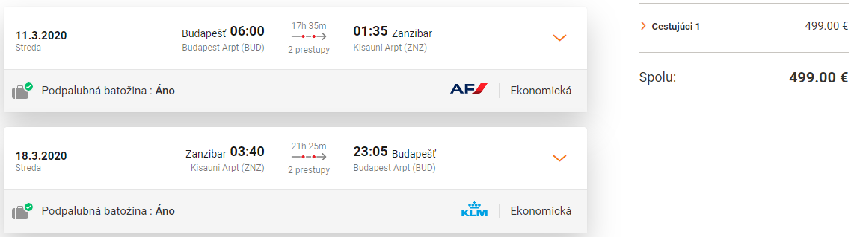 Zanzibar z Budapešti cez hlavnú sezónu s letenkami od 499 eur