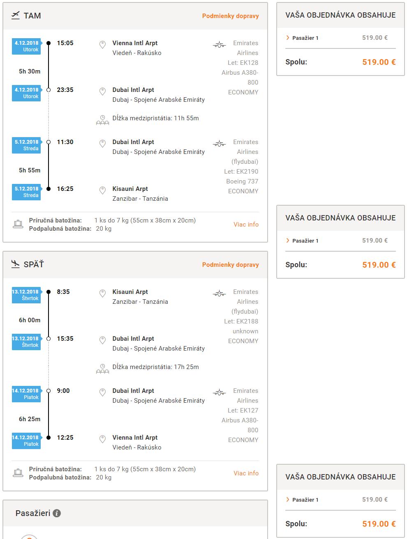 Zanzibar z Viedne s let.spoločnosťami Emirates od 519 eur